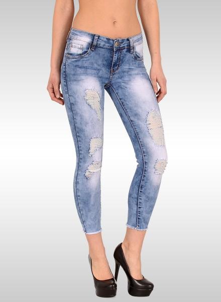Damen Skinny Ankle Jeans mit Risse