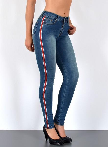 Damen Skinny Jeans mit rotem Streifen