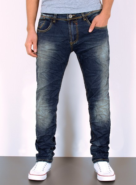 Herren Jeans Basic Slim Fit Used Look