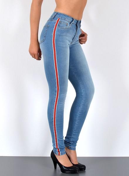 ESRA Damen Jeans mit Seitenstreifen bis Übergröße