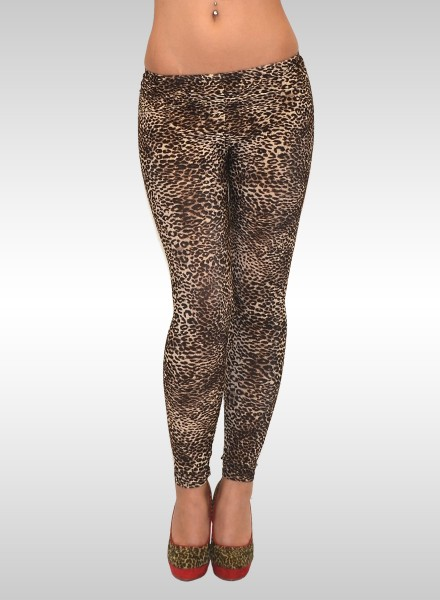 Damen Leggings Leolook braun