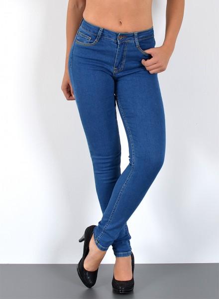 ESRA Damen Skinny High Waist Jeans bis Übergröße
