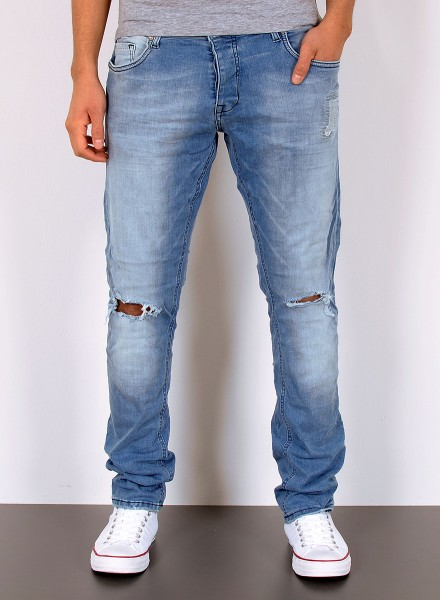 Herren Slim Fit Jeans Used Look