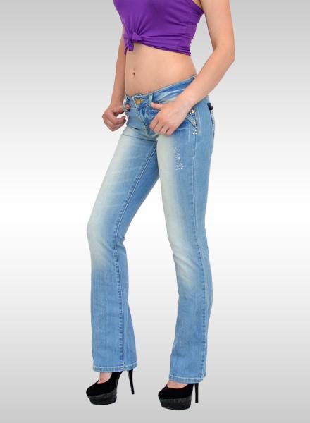 Damen Bootcut Jeans mit Strassapplikationen