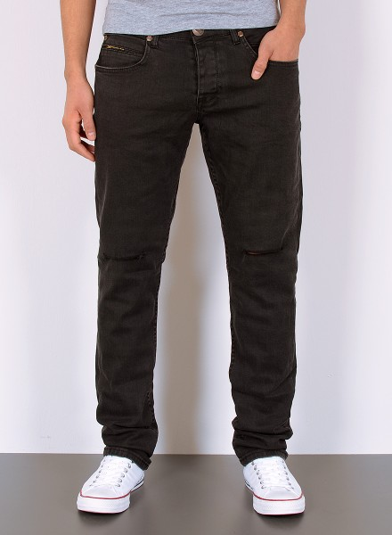 Herren Basic Straight Fit Jeans mit Riss am Knie