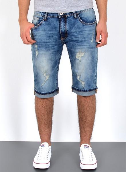 50346e45ea60b Herren Jeans Destroyed Look kurze Shorts bis Übergröße