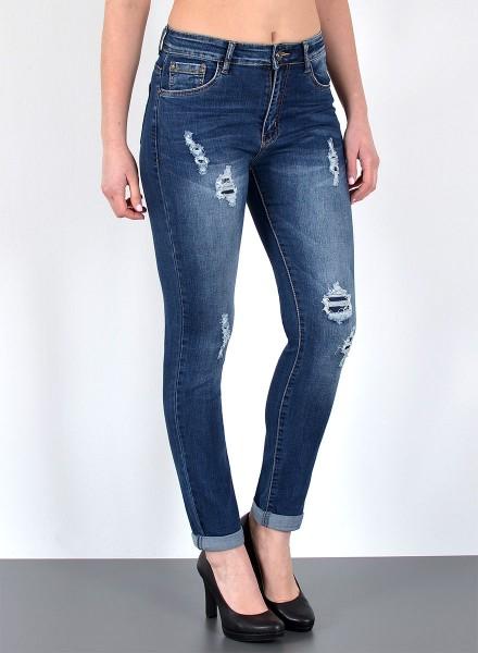 Damen Röhren Jeans mit Risse bis Übergröße