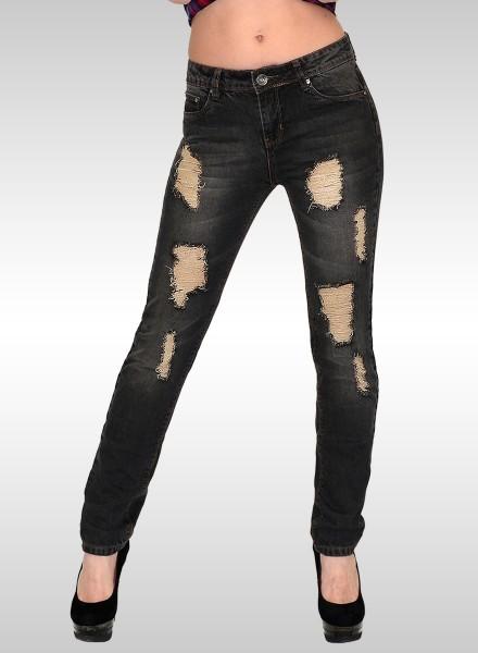 Damen Slim Fit Jeans Destroyed Look
