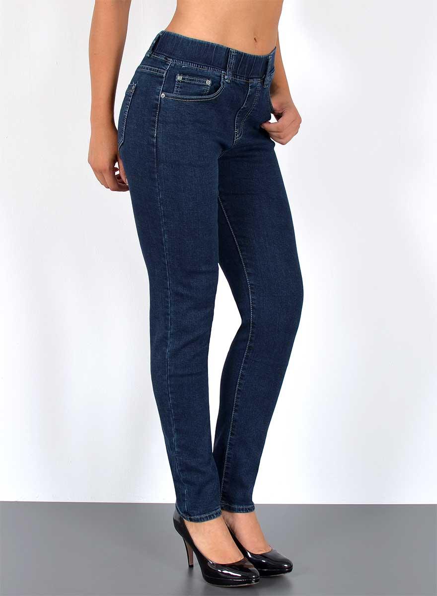 Damen Slim Fit Jeanshose mit Gummibund - Damen Jeans ...