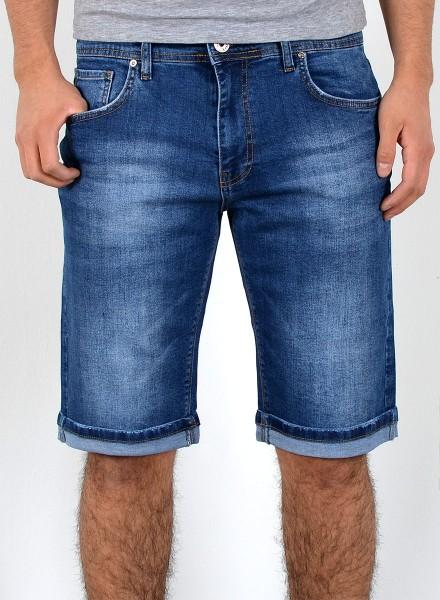 Herren Jeans Shorts dunkelblau mit Waschung große Größen