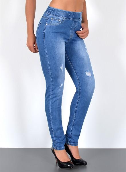 Damen Jeans Slim Fit Risse mit Gummibund große Größen