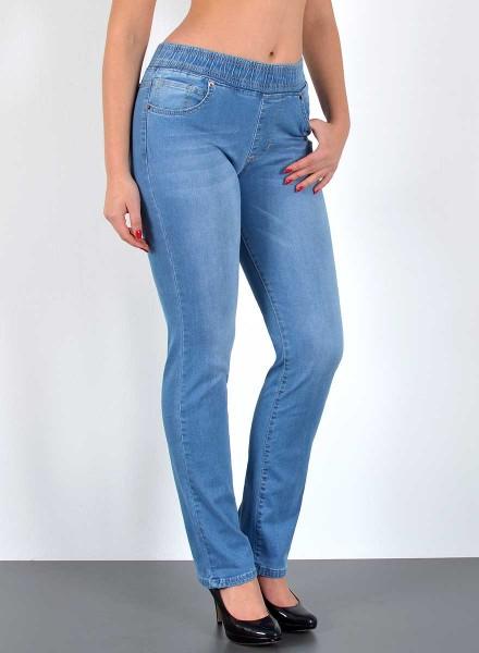 ESRA Damen Straight Fit Jeans mit Gummibund