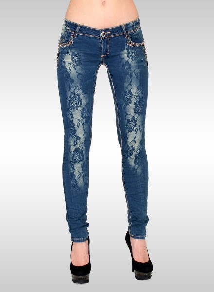 Damen Skinny Jeans mit Strass und Rosenmuster