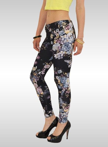 Damen Leggings mit Blumenmuster