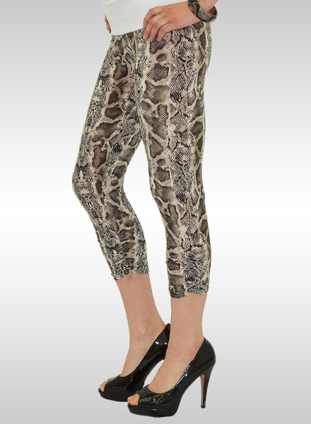 Damen Capri Leggings in Schlangenoptik