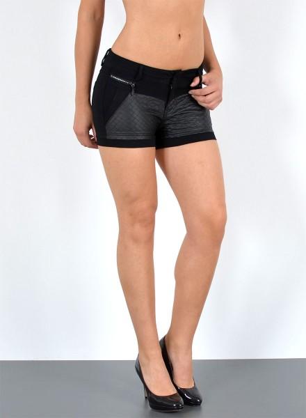 Damen Leder Shorts mit Zipper