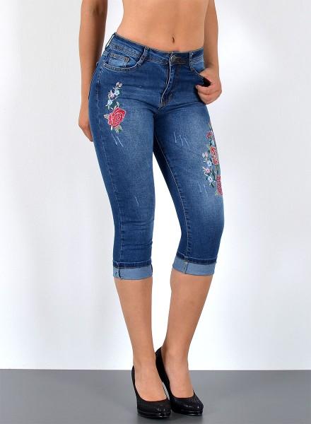 ESRA Capri Jeans Hose mit Blumenstickerei