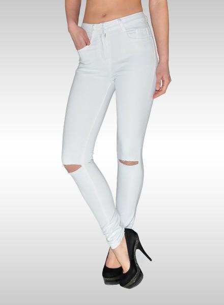 ESRA Damen High Waist Jeans weiß
