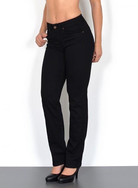 ESRA Damen Jeans gerader Schnitt schwarz