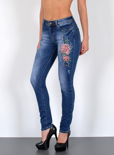 Damen Slim Fit Jeans mit Blumenstickerei bis Übergröße
