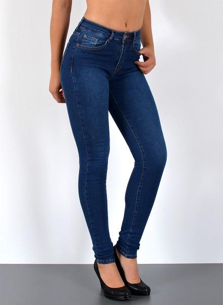 ESRA Damen Skinny Jeans High Waist Hochbund S300