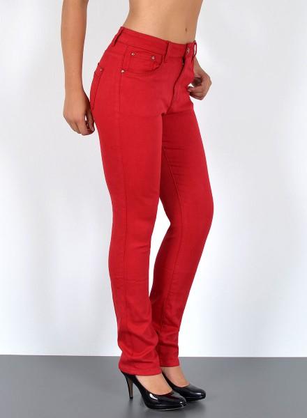 ESRA Damen Hochbund Straight Fit Hosen bis Übergröße