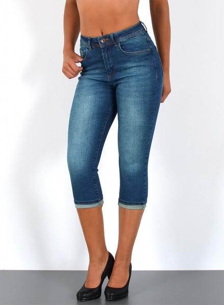 ESRA Damen Capri Jeans Hose High Waist große Größen