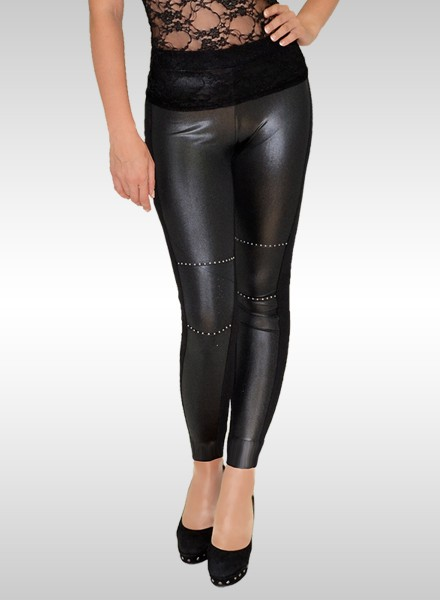 Damen Lederlook Leggings mit kleine Strasssteinen