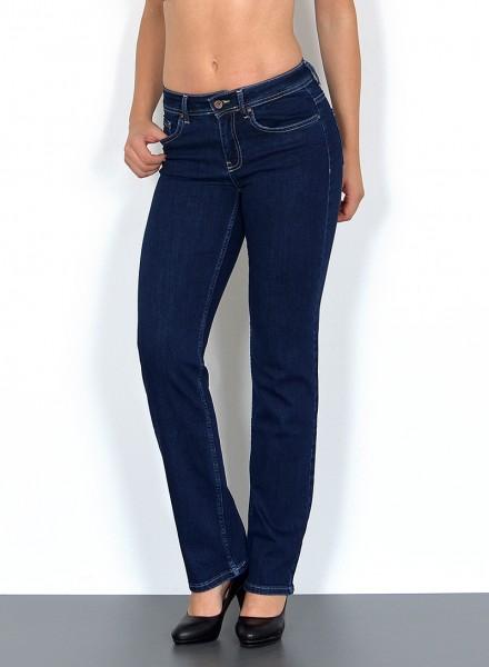 ESRA Damen gerade Jeans Hochbund mit Naht