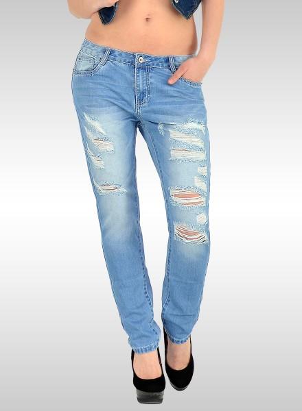 Damen Boyfriend Jeans Hose Risse Destroyed Look Jeans Z144