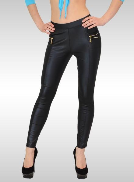Damen Lederlook Leggings mit Zipper