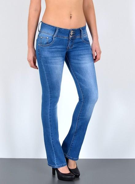 Damen Bootcut Jeans drei Knopf