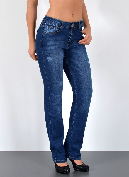 ESRA Damen Curvy Jeans mit Risse High Waist bis Übergröße