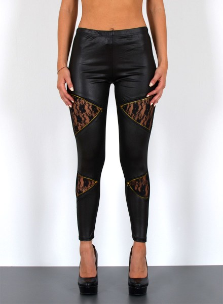 Damen Lederlook Leggings mit Zipper