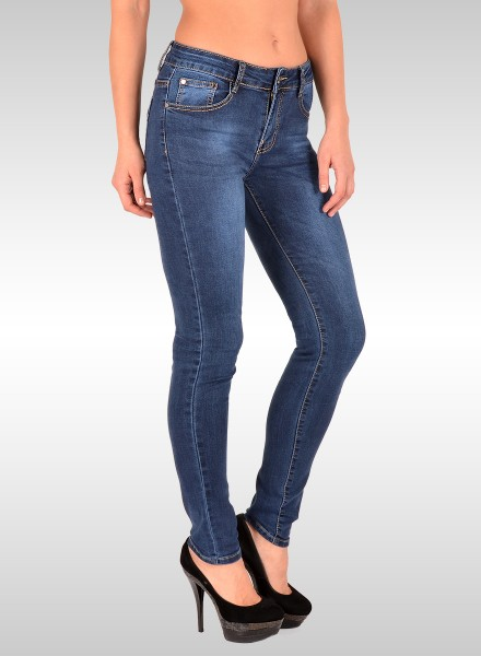 ESRA Damen Skiny Jeans Basic bis Übergröße