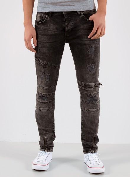 Herren Jeans Hose grau mit Zipper