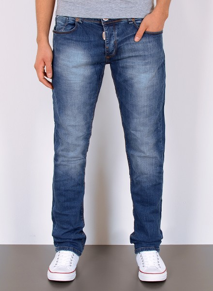 Herren Basic Straight Fit Jeans Used Look