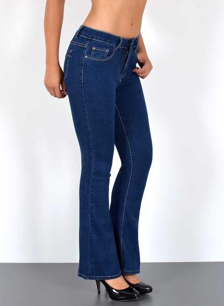 Damen Bootcut Jeans Hütjeans Hose