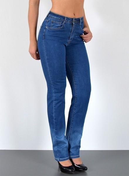 ESRA Damen gerader Schnitt Jeans mit Waschung
