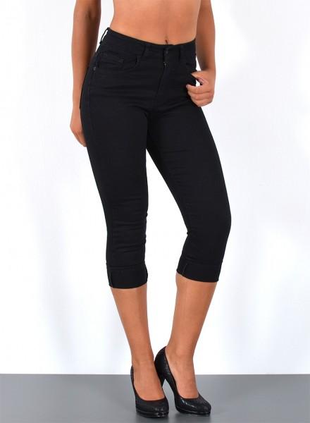 ESRA Damen Capri Jeans Hose hoher Bund schwarz
