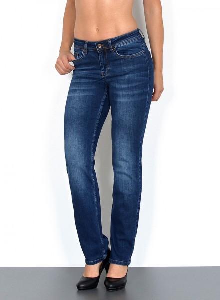 ESRA Damen Jeans gerader Schnitt Hochbund Hose
