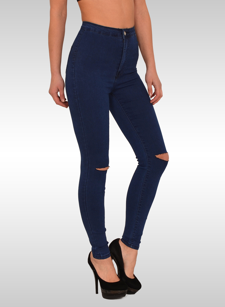 damen high waist jeans damen high waist skinny jeans mit risse bayramo bayramo onlineshop. Black Bedroom Furniture Sets. Home Design Ideas