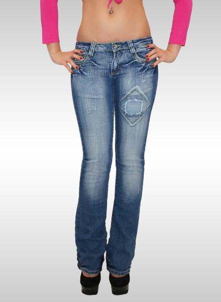 Damen Bootcut Jeans mit Stickerei