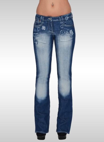 Damen Bootcut Jeans mit Blumenstickerei