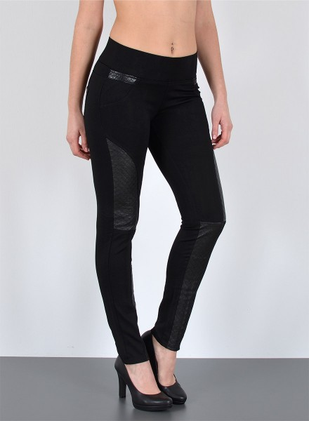Damen Lederlook Treggings mit Lederapplikationen