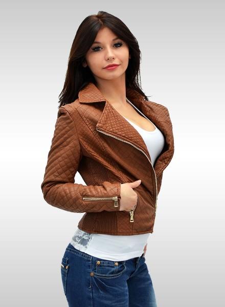 Damen Biker Jacke Kunstleiderjacke