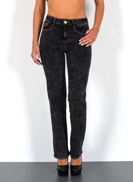 ESRA Damen Hochbund Jeans schwarz-batik Optik