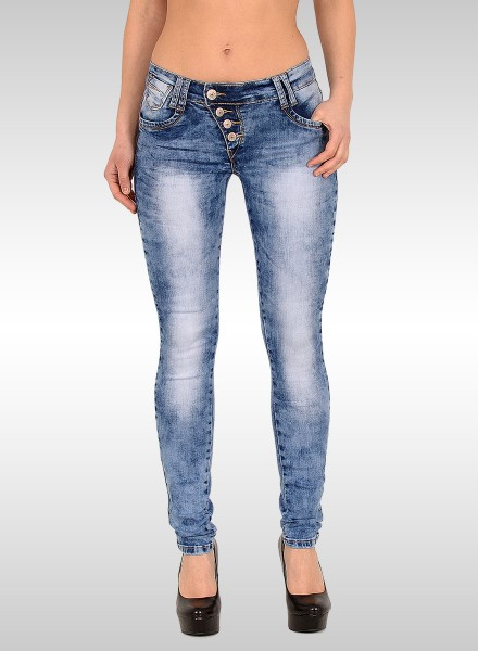 Damen Skinny Jeans Acid Optik