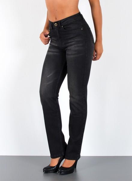 ESRA Damen Straight Fit Jeans Hose mit Waschung