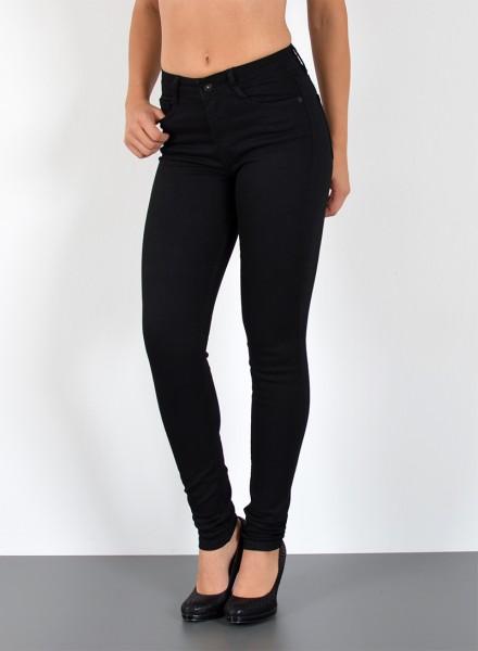 ESRA Damen High Waist Skinny Jeans schwarz